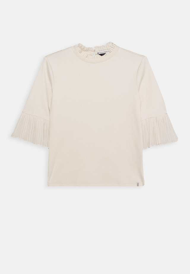 SLEEVE TEE WITH PLEATED DETAILS - Blouse - ecru