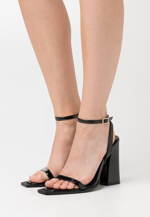 RIMAYA - High heeled sandals - black crinkle