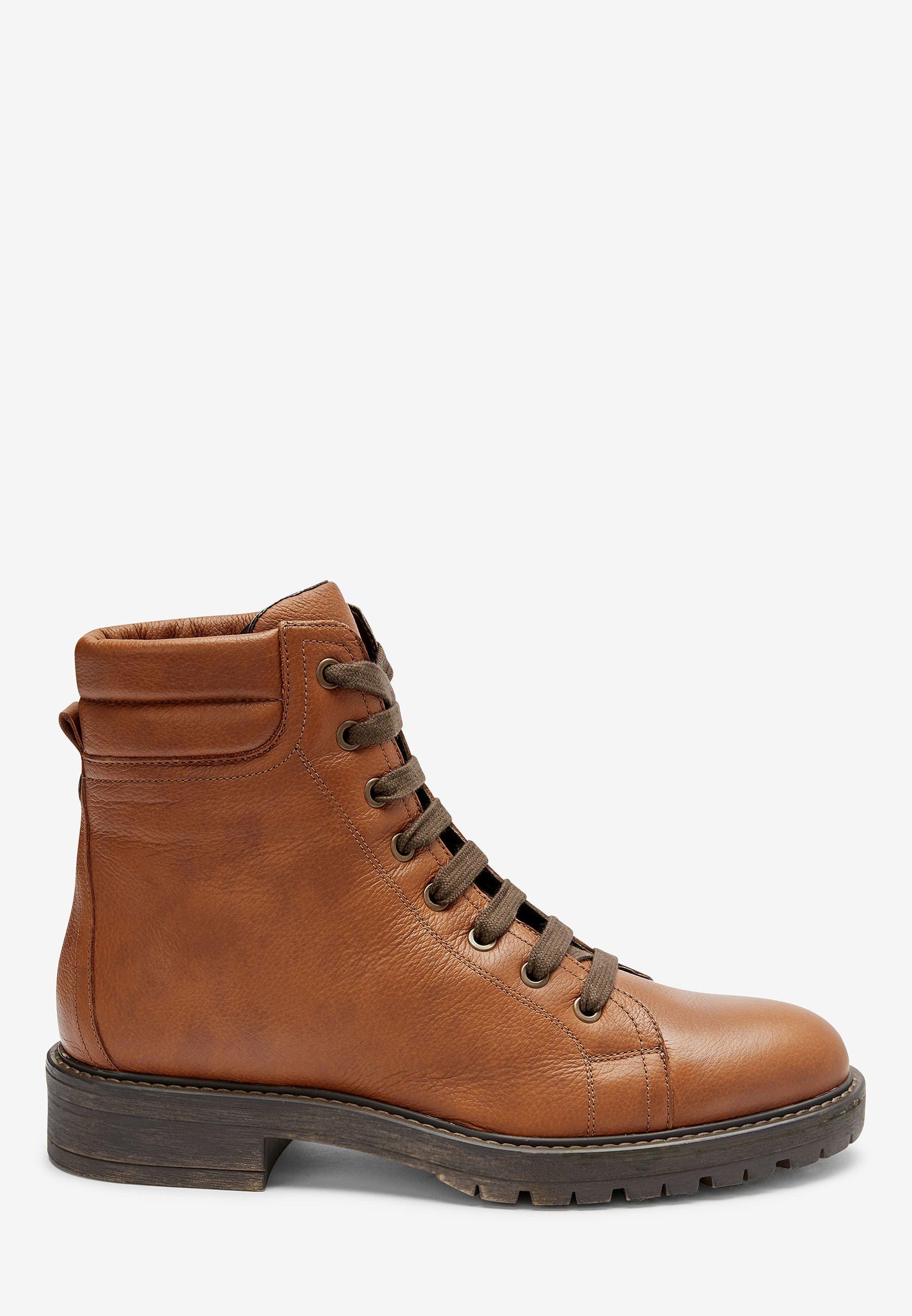 2020 Nuovo Scarpe da Donna Next TAN CHUNKY LACE UP ANKLE BOOTS Stivaletti stringati brown
