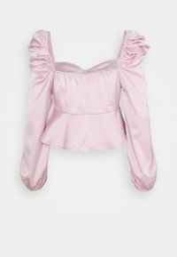 Missguided Petite - PUFF SLEEVE RUCHED FRONT PEPLUM - Long sleeved top - pink - 1