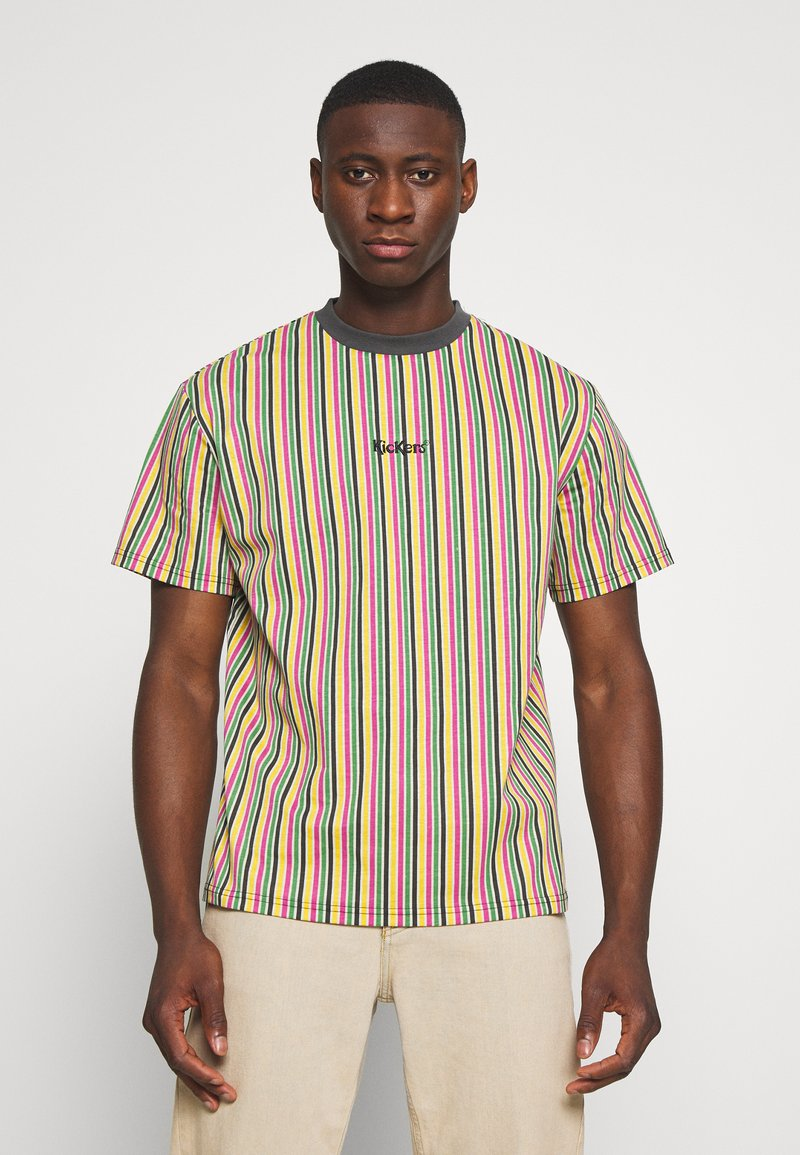 Kickers Classics - VERTICAL STRIPE TEE - T-shirt con stampa - yellow/green/pink