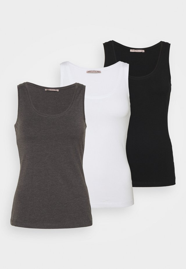 3 PACK - Top - black/white/mottled grey