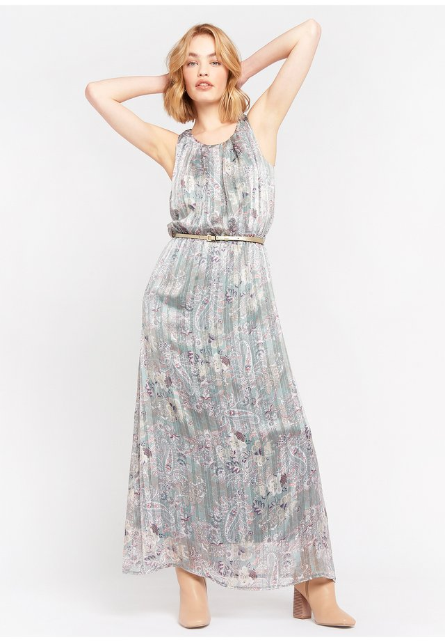 WITH FLOWERS AND BELT - Maxi-jurk - turquoise