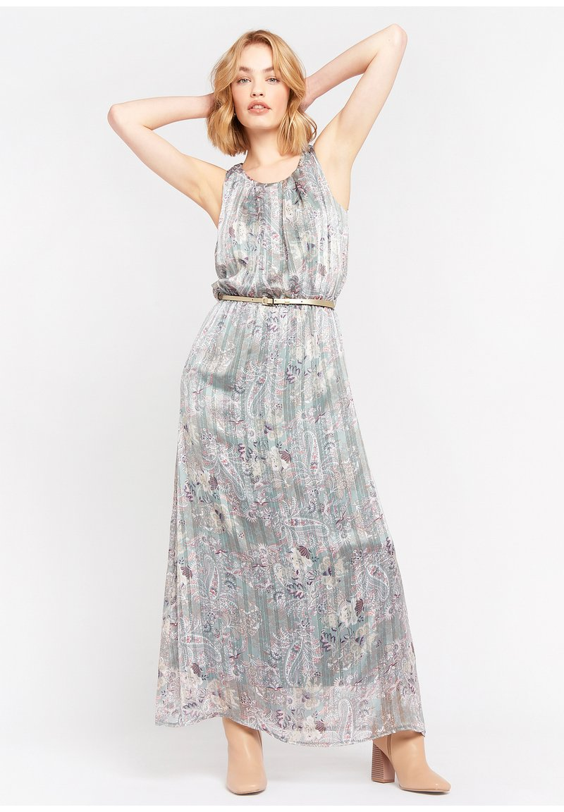 LolaLiza - WITH FLOWERS AND BELT - Maxi dress - turquoise