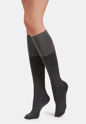 SELENE - Knee high socks - black/silver