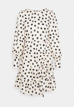 ROUCHED SKIRT MINI DRESS - Day dress - white/black