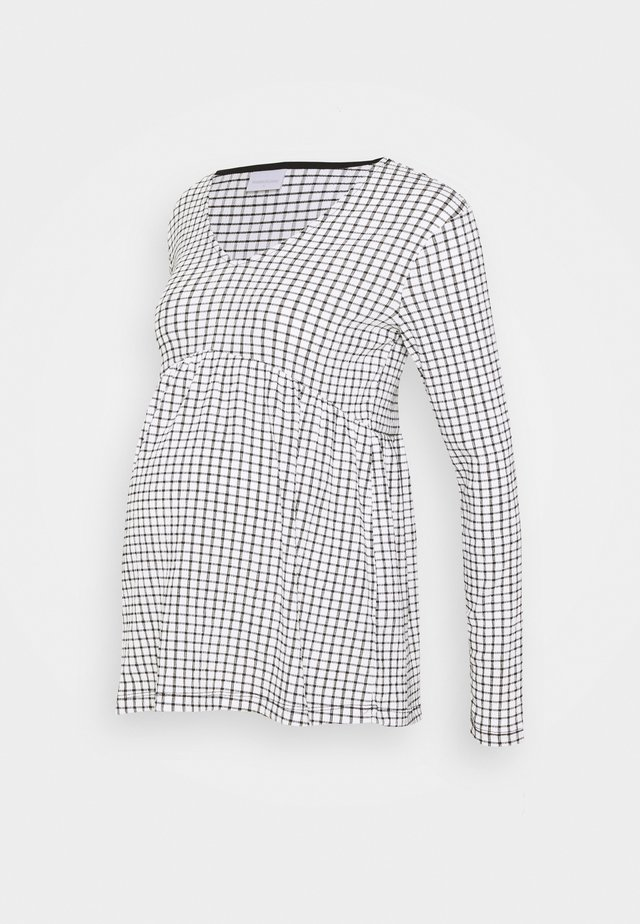 MLCILLE TOP CHECK - Long sleeved top - snow white/black