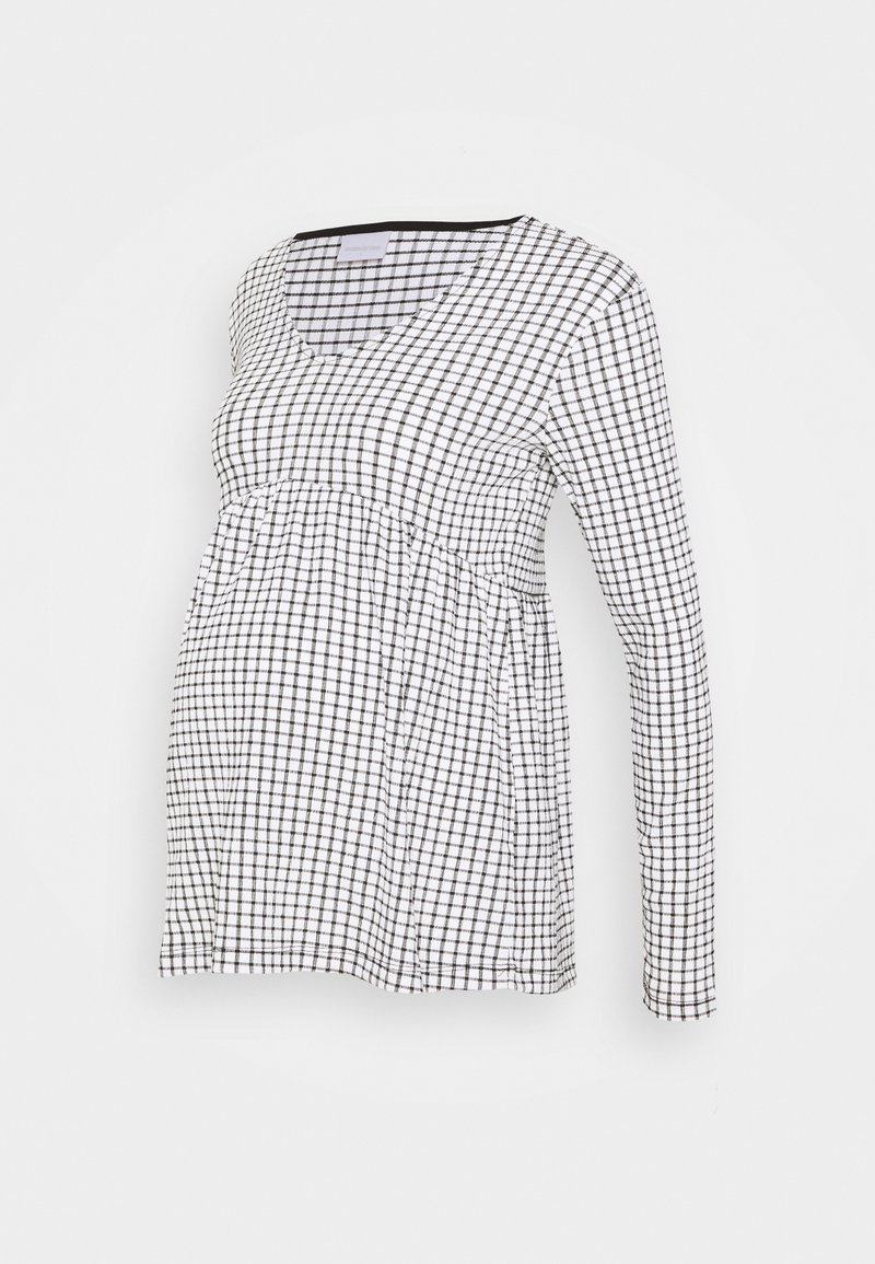 MAMALICIOUS - MLCILLE TOP CHECK - Long sleeved top - snow white/black