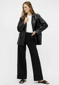 YAS - Leather jacket - black - 1