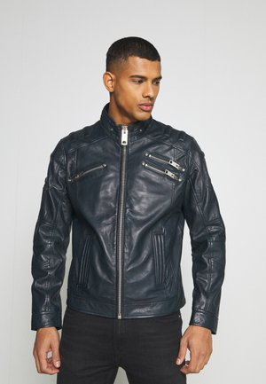 BIKER JACKET - Leather jacket - navy