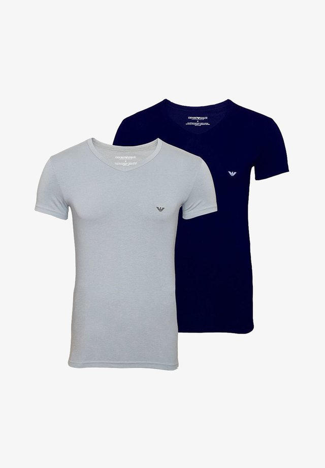 V NECK 2 PACK - Basic T-shirt - navy grey