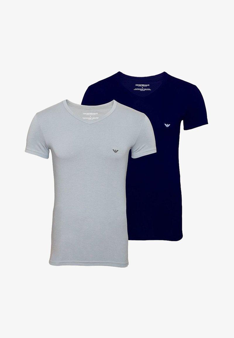Emporio Armani - V NECK 2 PACK - Basic T-shirt - navy grey