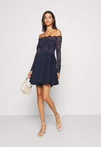 Nly by Nelly - OFF SHOULDER SKATER - Jersey dress - navy - 1