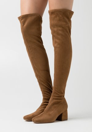 ONLBILLI LIFE LONG SHAFT HEELED BOOT  - Høye støvler - sand