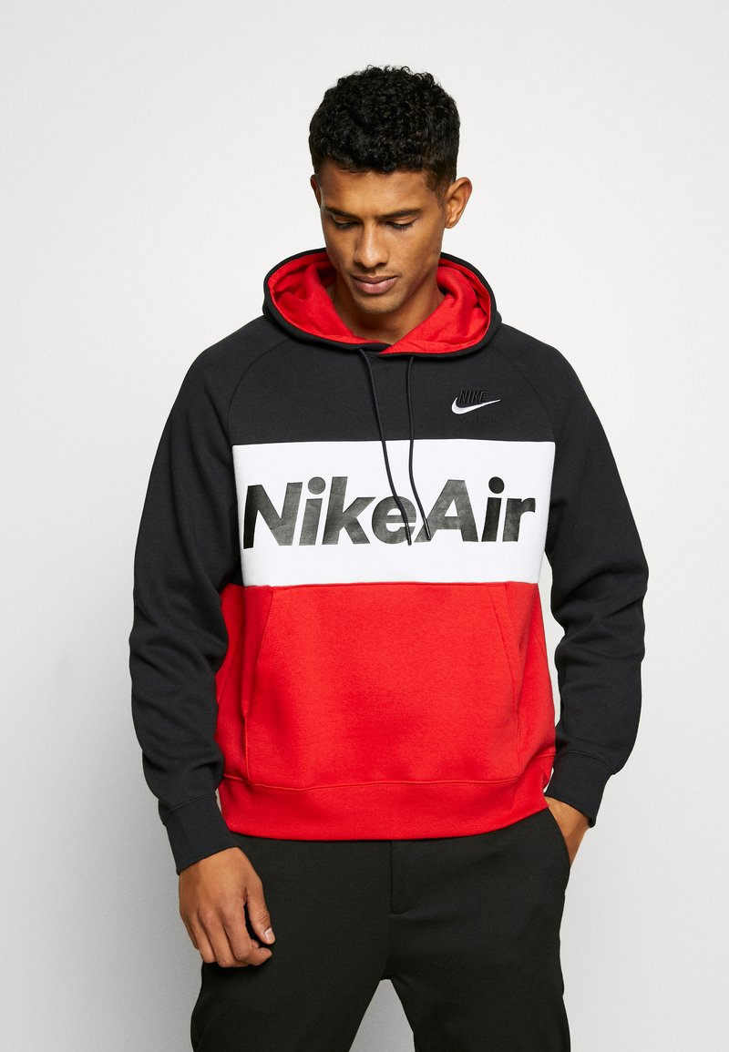 Nike Sportswear - AIR HOODIE - Hoodie - black/white/university red
