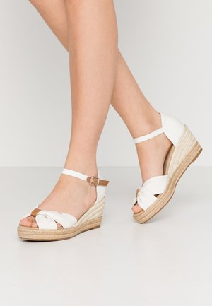BASIC OPENED TOE MID WEDGE - Espadrilles - ivory