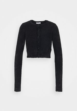 CROPPED CARDIGAN WITH HIGH ROUND NECKLINE AND LONG SLEEVES - Jumper - black
