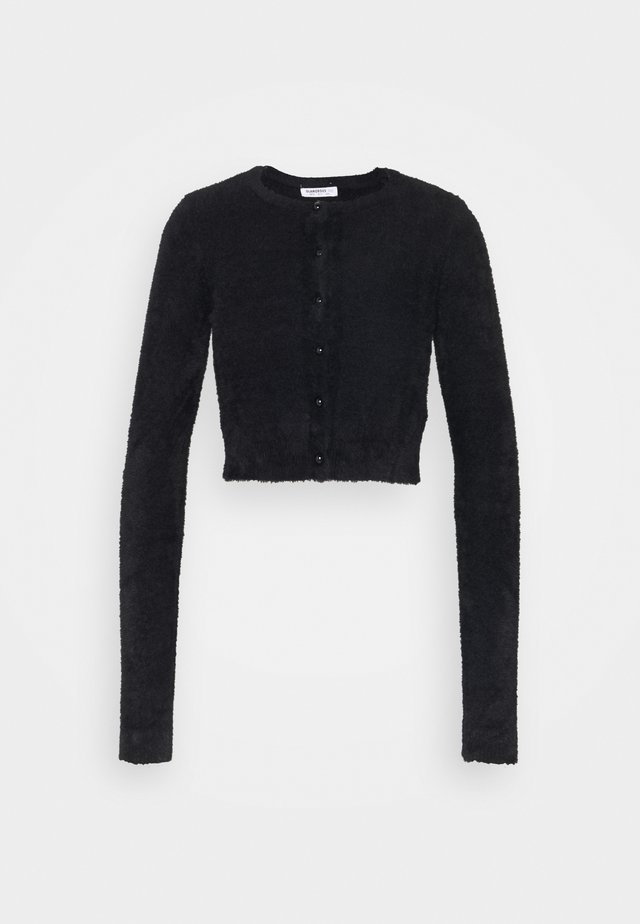 CROPPED CARDIGAN WITH HIGH ROUND NECKLINE AND LONG SLEEVES - Neule - black