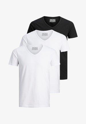 3 PACK V-NECK - Basic T-shirt - white/white/black
