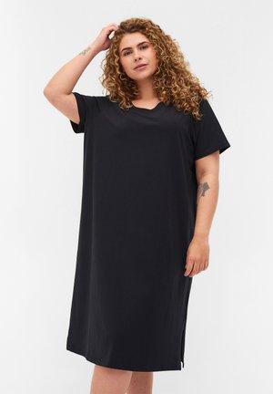MIT SCHLITZ - Vestito di maglina - black