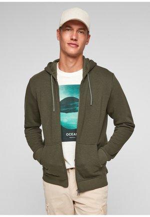 Zip-up sweatshirt - khaki/oliv stripes