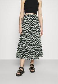 ONLY - ONLPELLA SKIRT - Maxi skirt - black/green milieu - 0