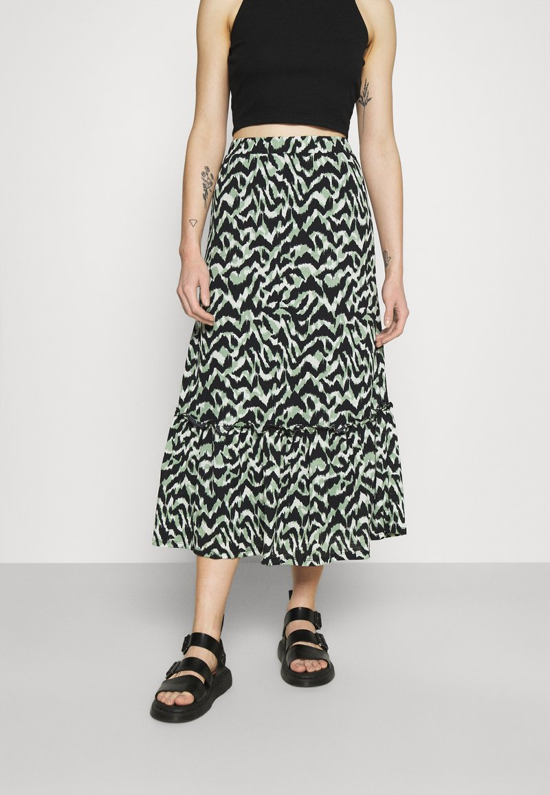 ONLY - ONLPELLA SKIRT - Maxi skirt - black/green milieu