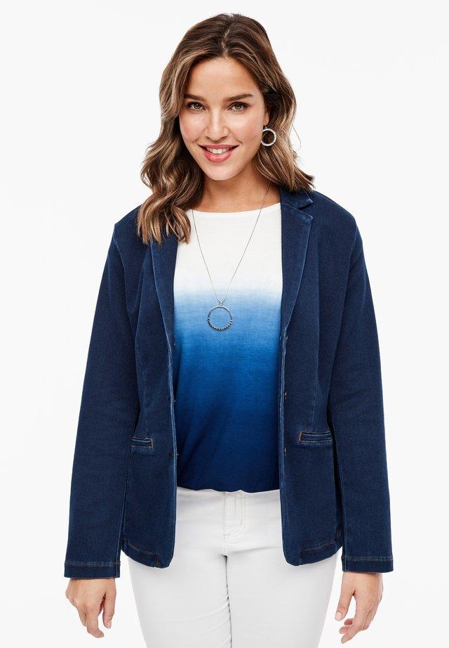 BLAZER AUS FELPA-DENIM - Denim jacket - deep blue
