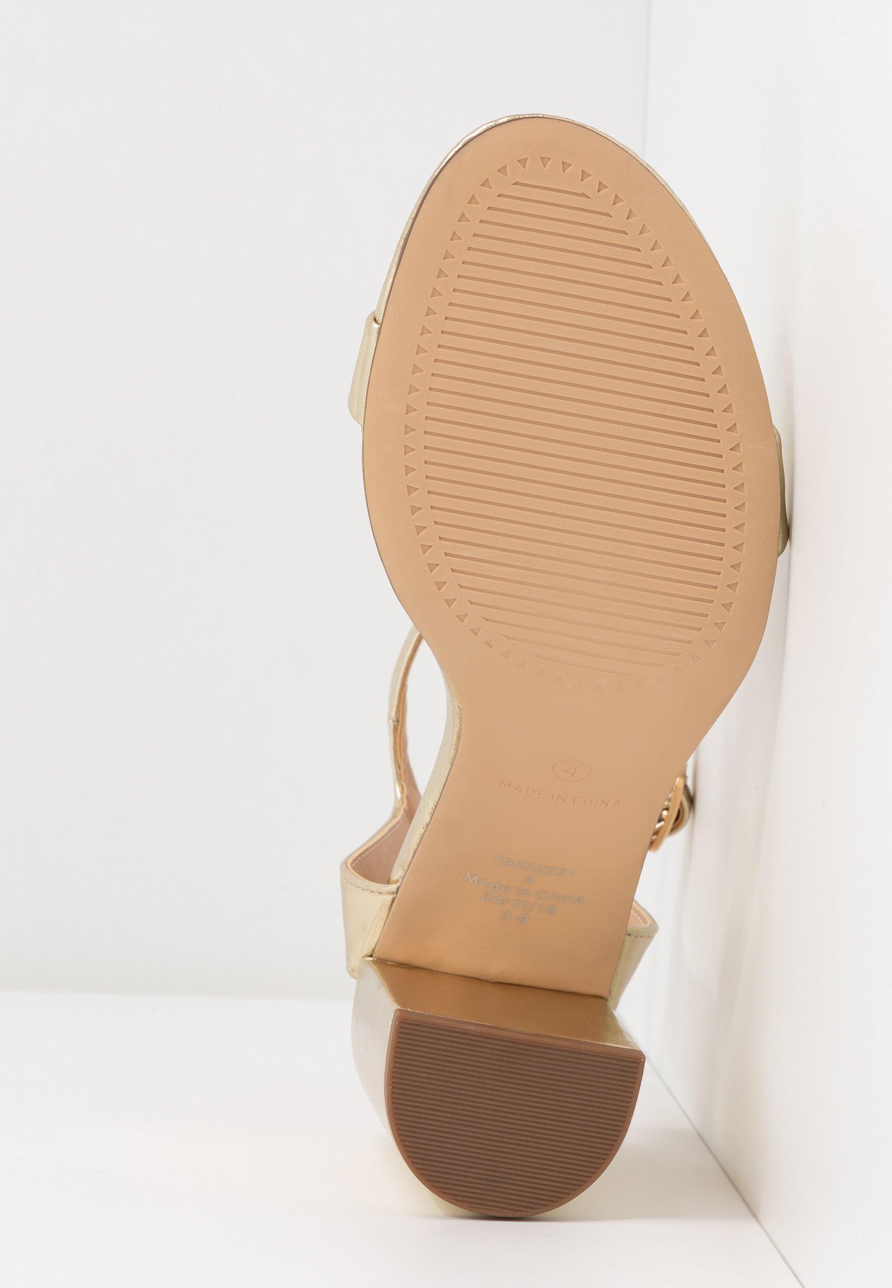 Dorothy Perkins Shimmer Block Heel - Sandalen Met Hoge Hak Gold