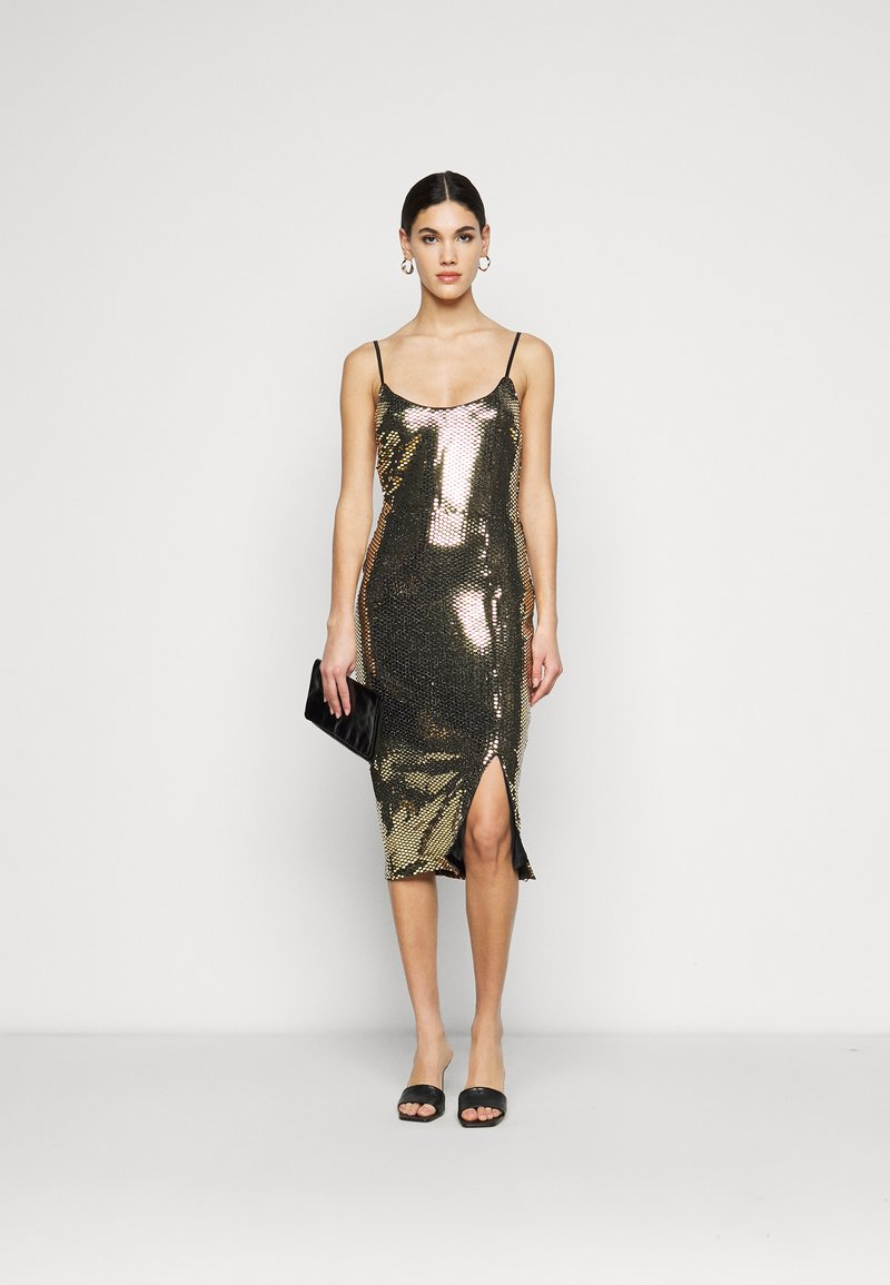 Missguided Tall - STRAPPY MIDI DRESS - Cocktail dress / Party dress - gold