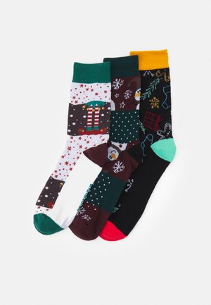 JACBLOCK XMAS SOCKS GIFTBOX 3 PACK - Calze - black/verdant green/port royal