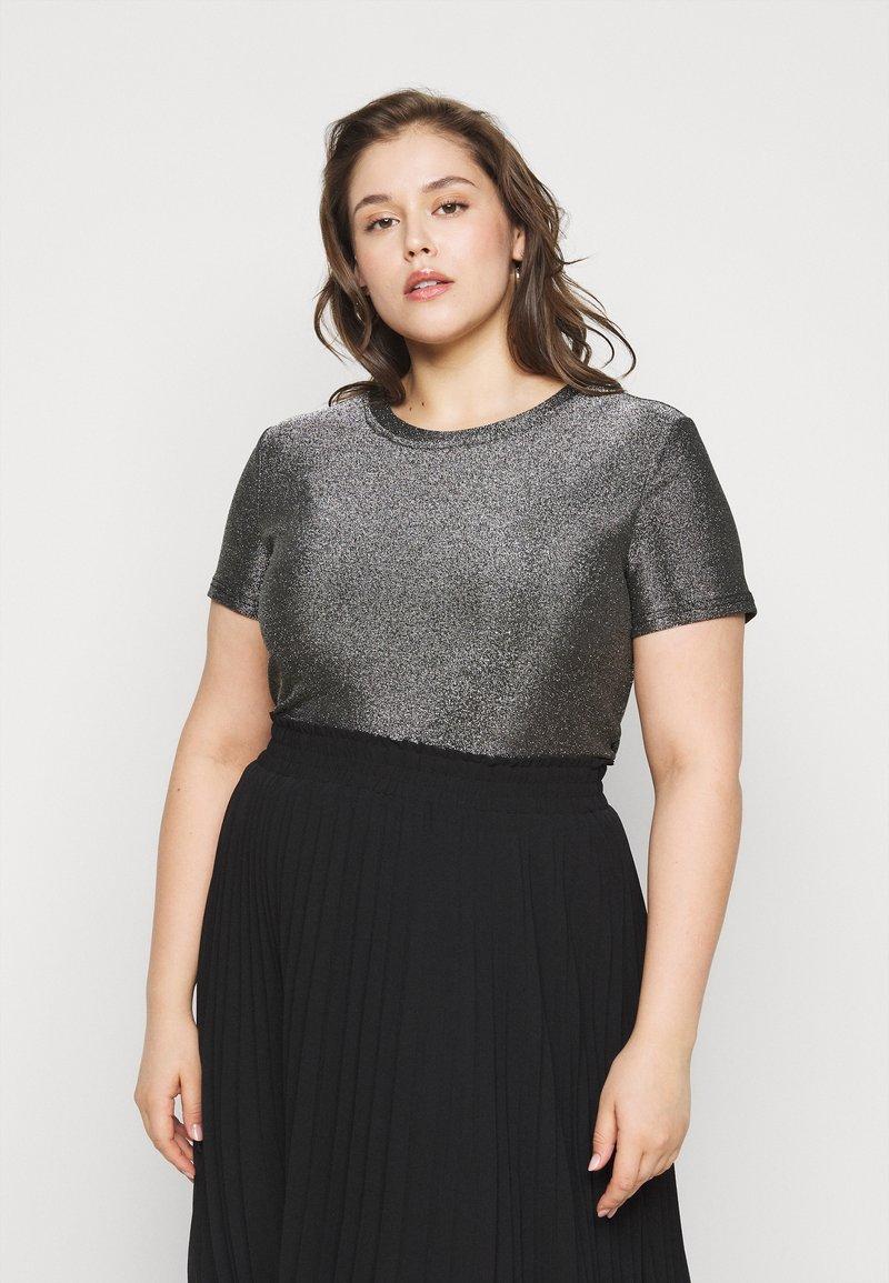 Vero Moda Curve - VMADALYN GLITTER - Basic T-shirt - black/silver