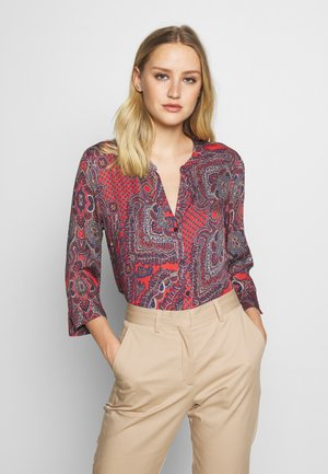 Button-down blouse - red/blue