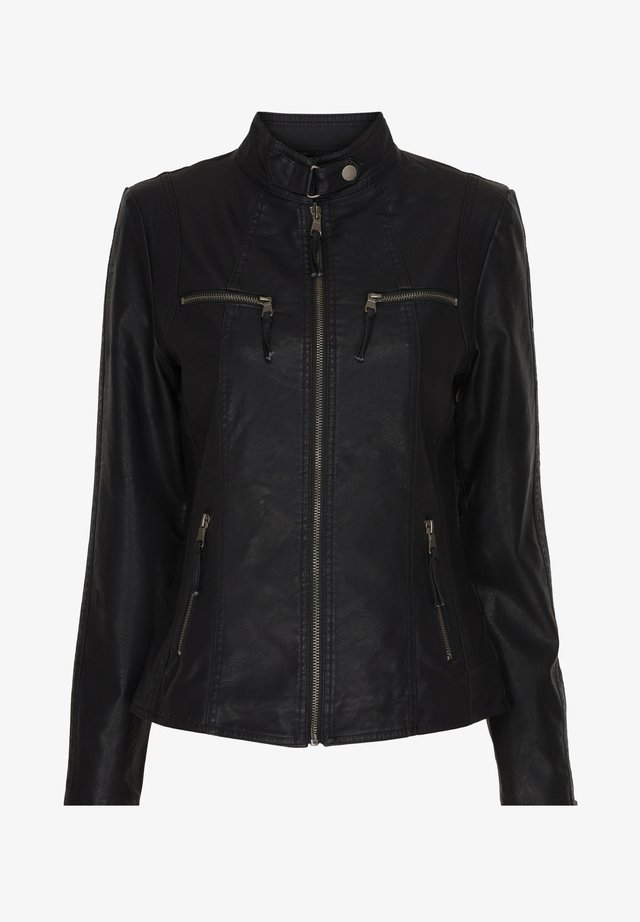 PARIS - Imitatieleren jas - black