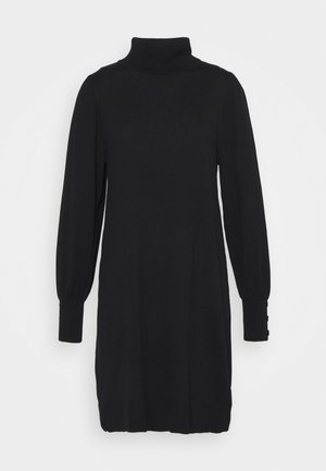 KNITTED ROLL NECK SWING DRESS - Strikket kjole - black