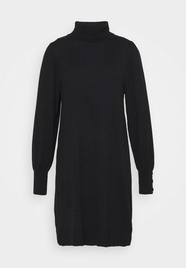 ROLL NECK SWING DRESS - Gebreide jurk - black