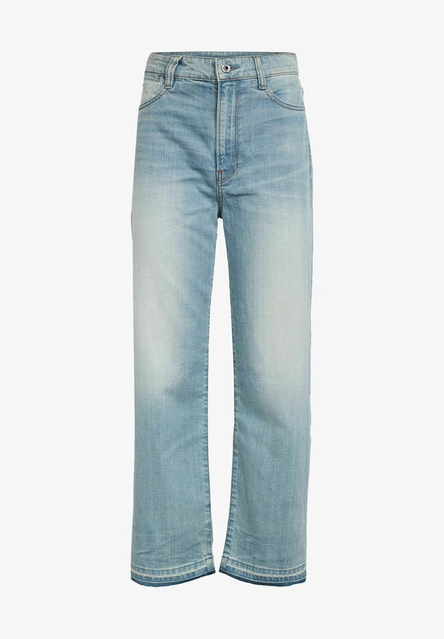 TEDIE ULTRA HIGH STRAIGHT RIPPED ANKLE - Straight leg jeans - sun faded cyan