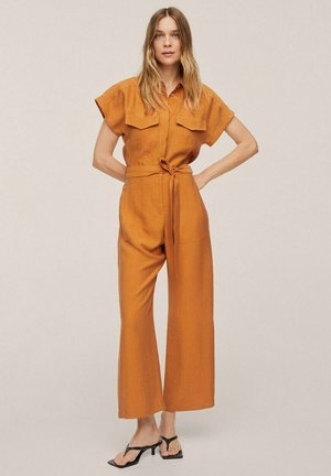 LYOCELL  WITH BELT - Jumpsuit - mustard
