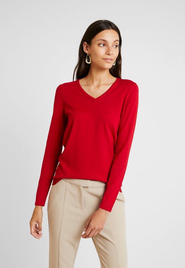 V NECK - Pullover - dark red
