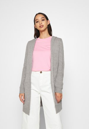HOODED CARDIGAN - Cardigan - grey melange