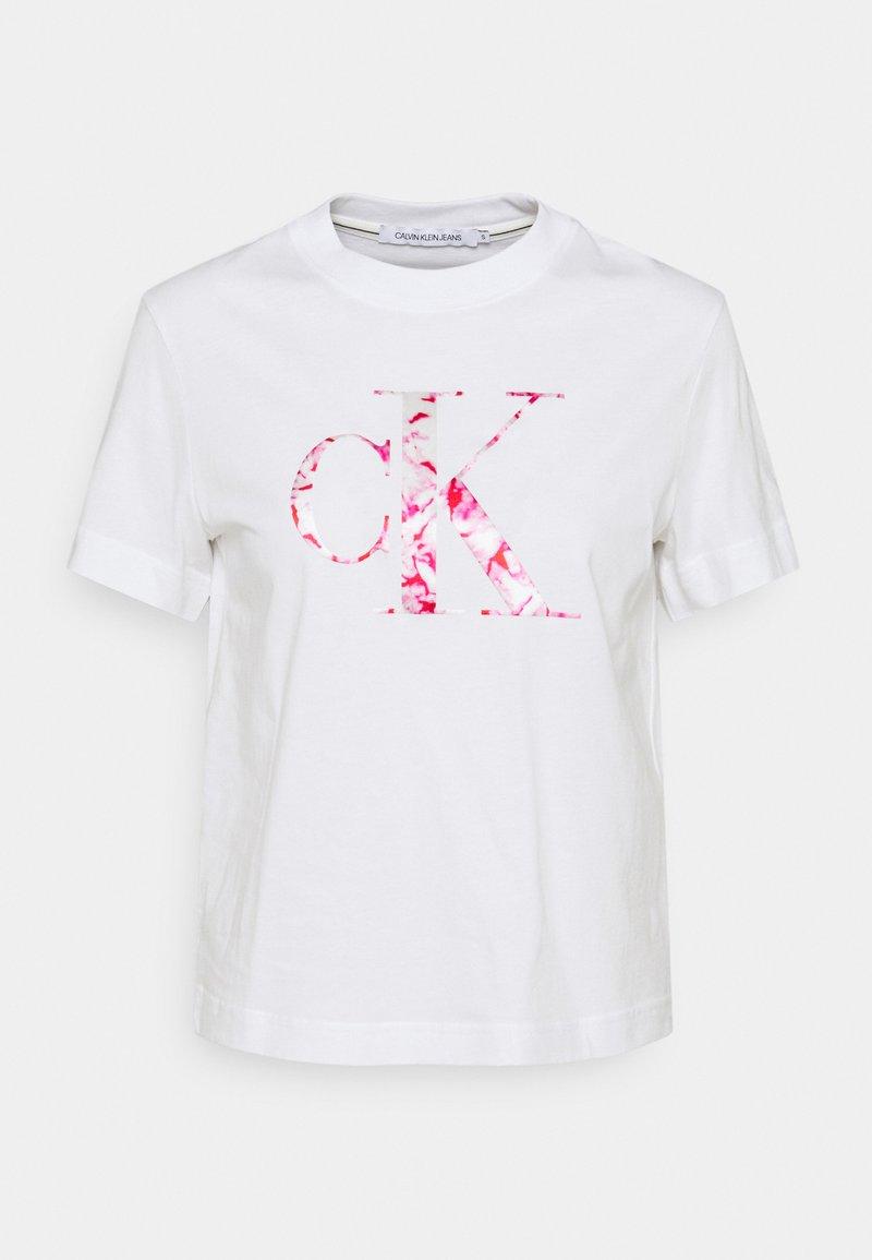 Calvin Klein Jeans - BONDED FILLED TEE - Camiseta estampada - bright white/marble