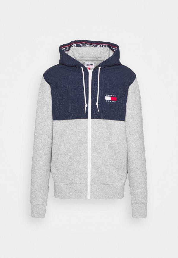 Tommy Jeans CONTRAST ZIP HOODIE - Bluza rozpinana - grey/szary melanż Odzież Męska ROWB