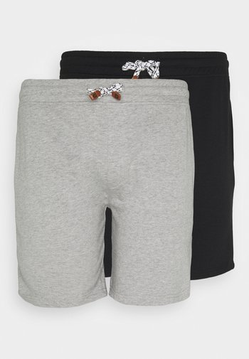 EXCLUSIVE 2 PACK - Shorts - schwarz /light grey mel