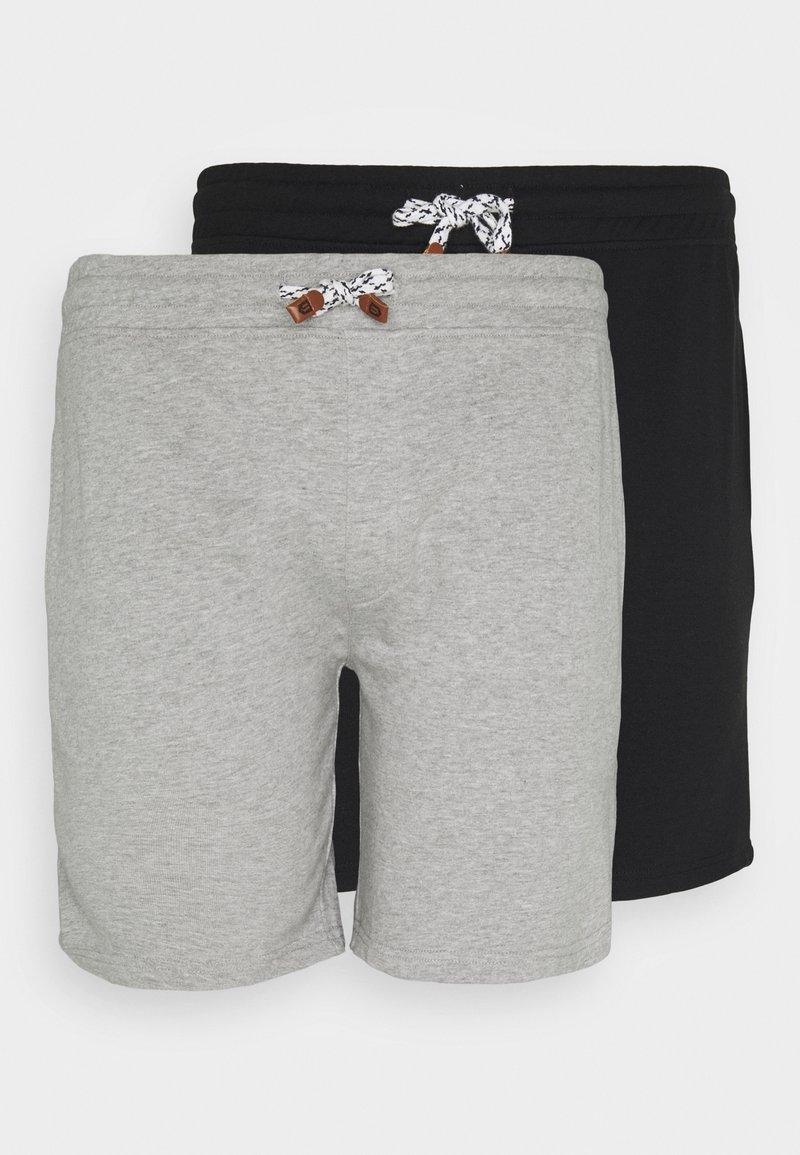 INDICODE JEANS - EXCLUSIVE 2 PACK - Shorts - schwarz /light grey mel