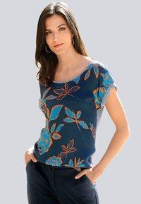 Alba Moda - Print T-shirt - marineblau,orange - 1