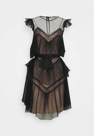 ABITO CORTO A BALZE CON CINTURA - Day dress - nero