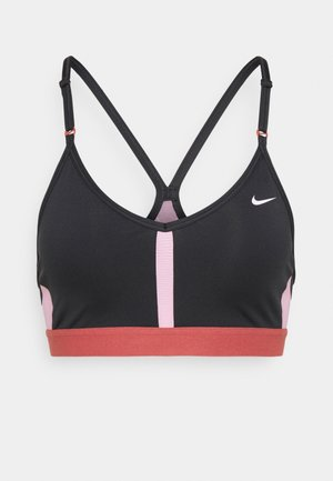 INDY BRA V NECK - Light support sports bra - black/pink glaze/canyon rust/white
