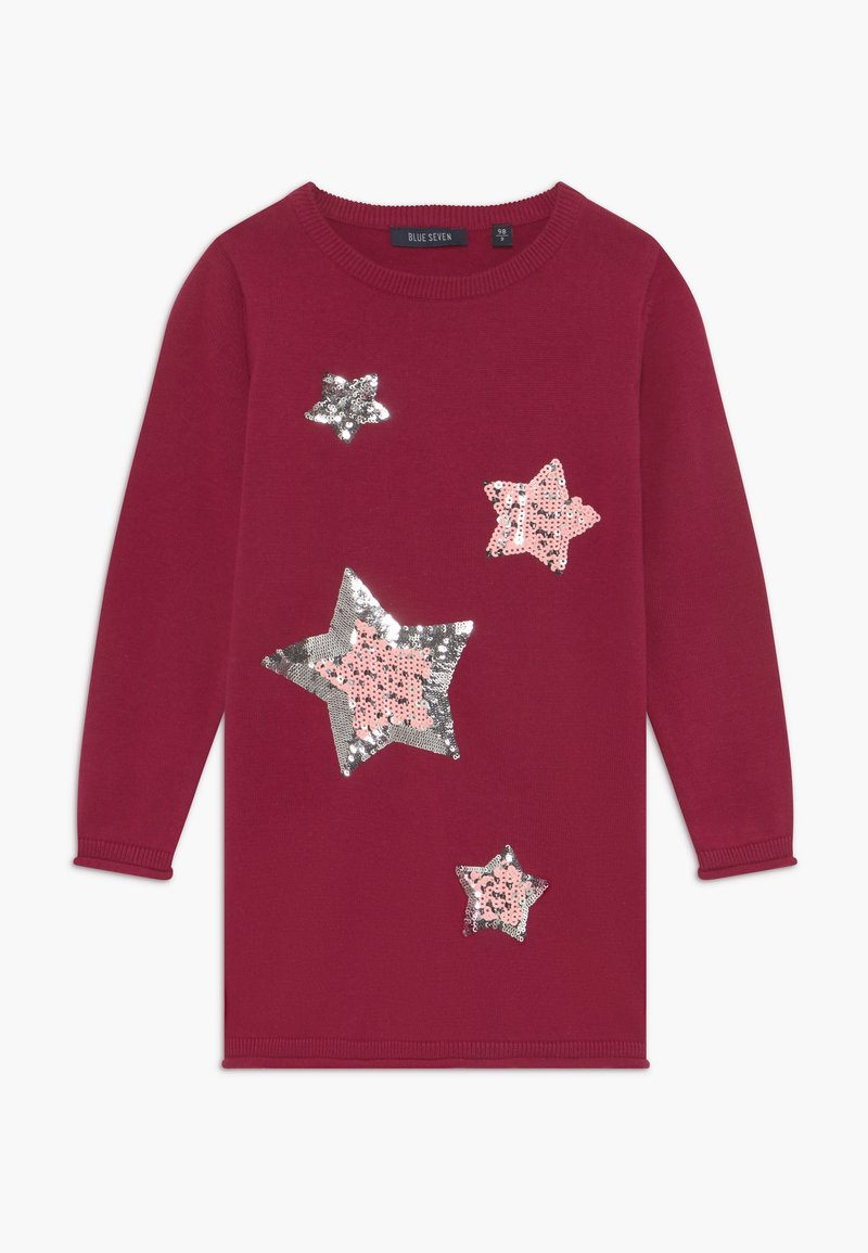 Blue Seven - KIDS SEQUIN STARS - Gebreide jurk - bordeaux