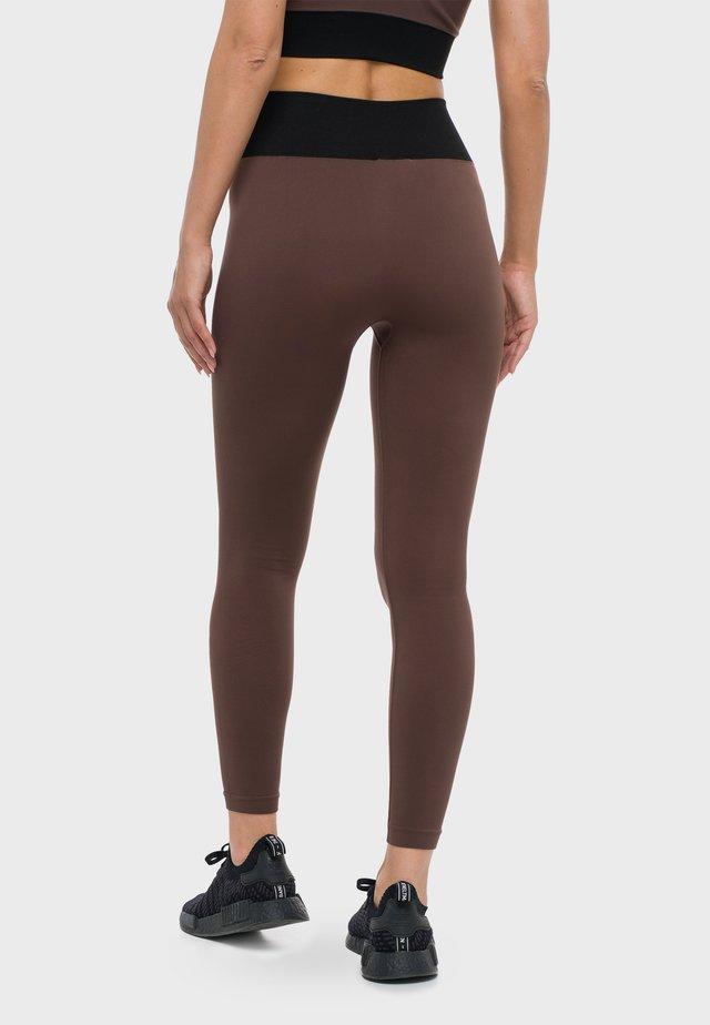 Leggings - black/chestnut