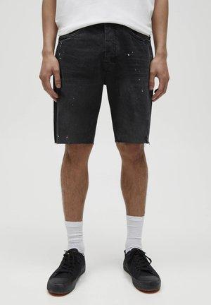 MIT KLECKSEN - Denim shorts - black